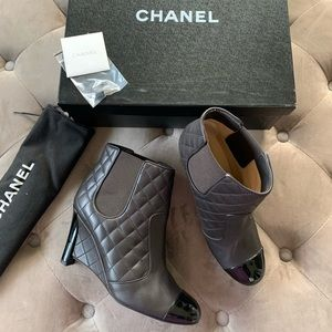 CHANEL Women Short Boots Logo Quilted Brown Wedge
